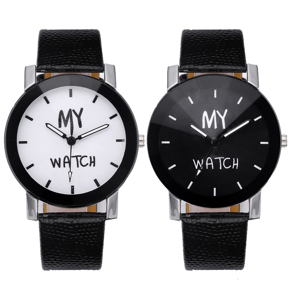 Korean Middle School Couple Watch My Watch Letters Logo Lovers Watches Harajuku Retro Watch Personality WristWatch A40