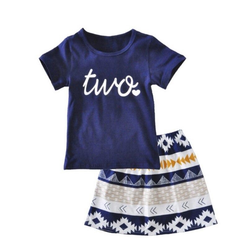 Girls T-shirt Skirt Clothing Sets  Summer Kids Girl Short Sleeve Skirt Set Children Toddler Girls Clothing Hot Sale