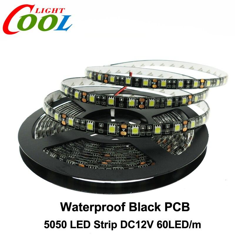 buy black pcb led strip 5050 dc12v ip65 waterproof 60led m 5m lot white warm. Black Bedroom Furniture Sets. Home Design Ideas