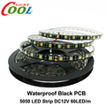 Black PCB LED Strip 5050 DC12V IP65 Waterproof 60LED/m 5m/lot White / Warm White / Red / Green / Blue / RGB 5050 LED Strip.