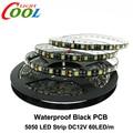 Black PCB LED Strip 5050 DC12V IP65 Waterproof 60LED/m 5m/lot White / Warm White / Red / Green / Blue / RGB 5050 LED Strip.