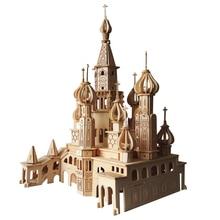 Juguete de niños de rompecabezas de madera 3D para niños y la iglesia de adultos en San Petersburgo Juguete de educación DIY Montessori como regalo para la familia