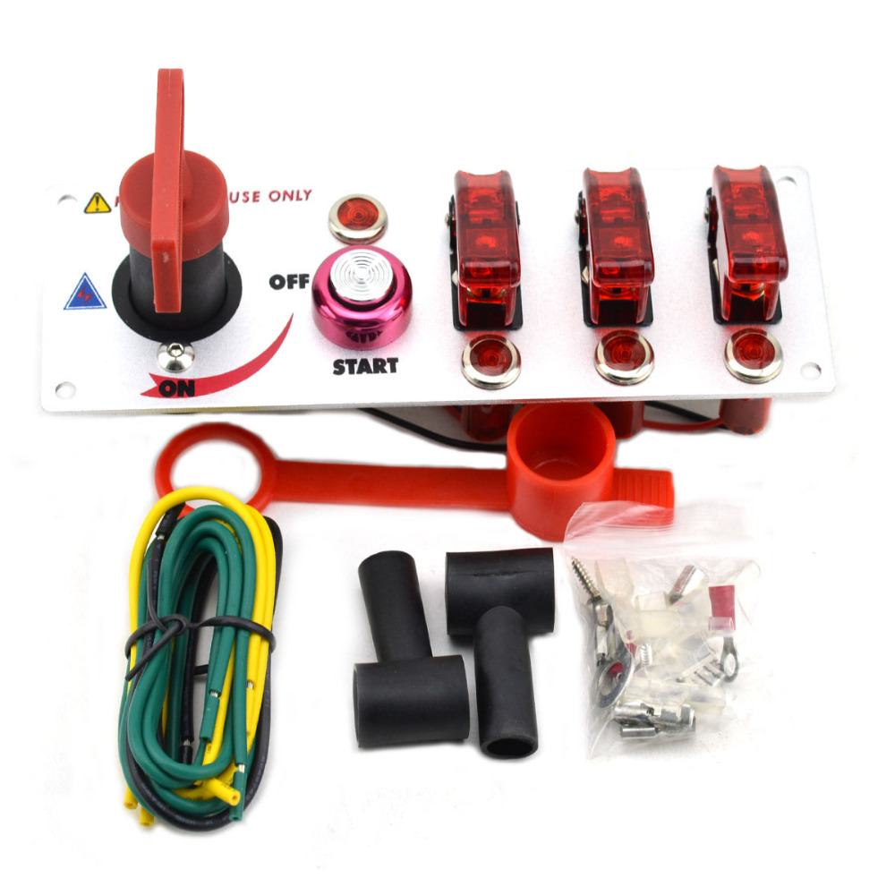 DC12V Flip-up Ignition Switch Panel for Racing Sport Car Modification cut off switch+Ignition Switch+Toggle switch