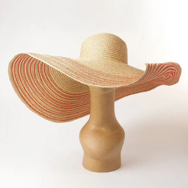 Women Natural 25cm OVERSIZED Floppy Raffia Hat Beige Red Navy Striped Giant Straw Hat Big Wide Brim Hat Summer Sun Beach Hat Cap
