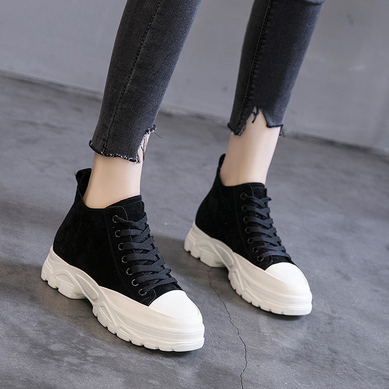 2019 spring new leather womens shoes Korean casual thick-soled wild fashion shoes.2019 spring new leather womens shoes Korean casual thick-soled wild fashion shoes.