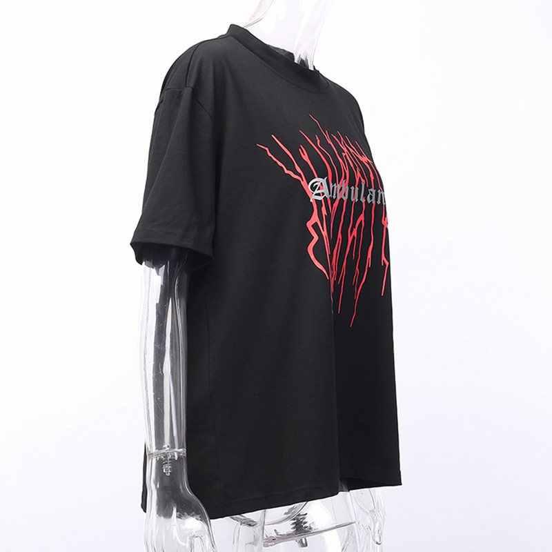 Летняя Готическая Панк Сексуальная клубная черная футболка Harajuku женская одежда больших размеров 2019 Свободные повседневные футболки с графическим изображением