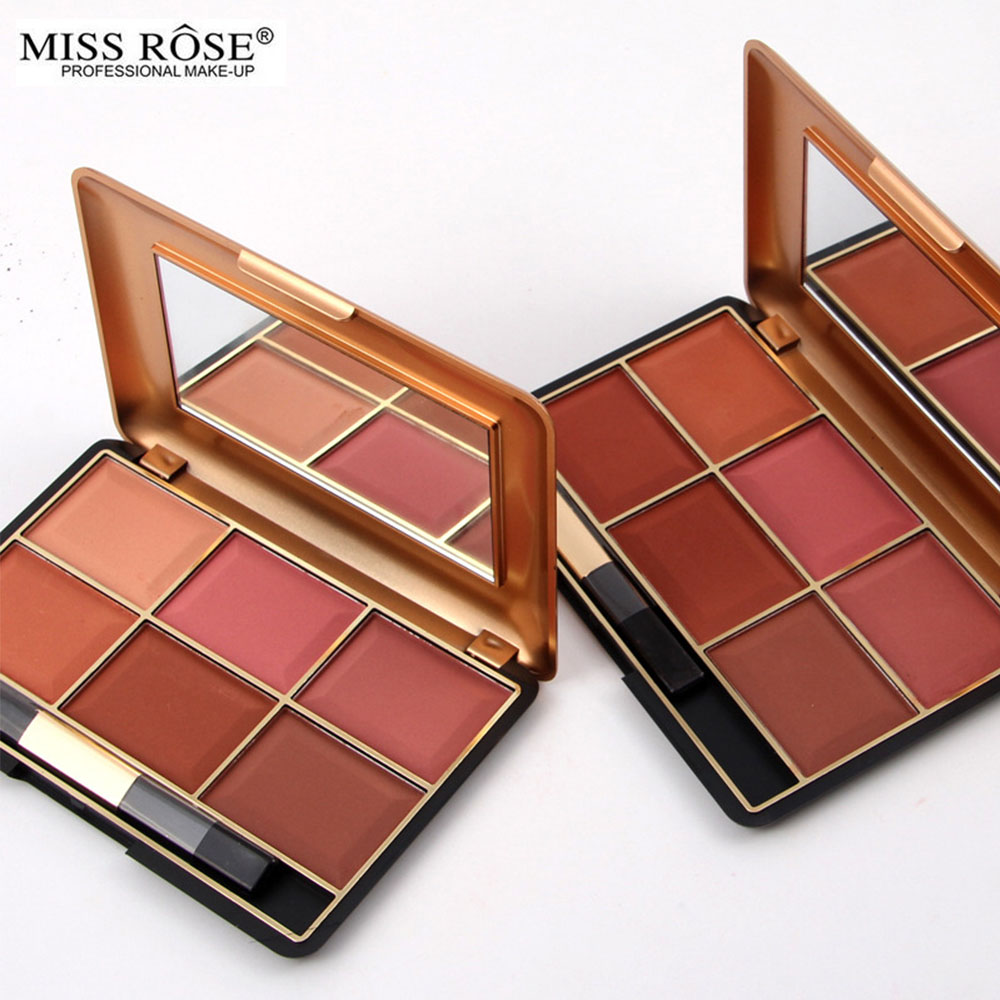 Miss Rose 6 Colors Makeup Blush Brush Palette Asian South
