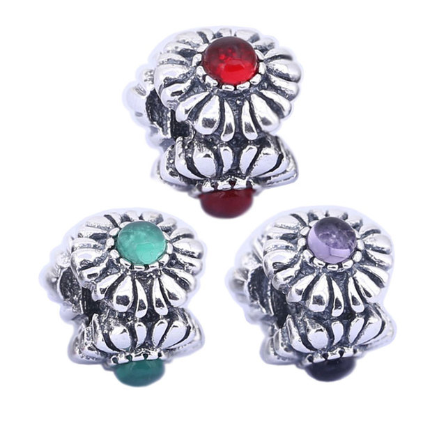 Vintage Floral Charms July Birthstone Charm 925 Silver Beads Fits
