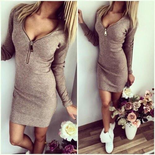 Для женщин модные платья молнии v-образным вырезом с длинным рукавом Тонкий Bodycon платье Для женщин Тощий мини-платье Бесплатная доставка хал...