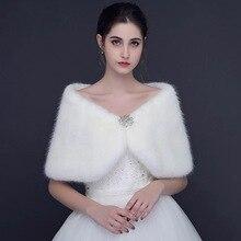 2018 Fur Bolero Wraps Wedding Jacket Women Winter Warm Bride Accessories With Crystal Beaded