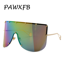 PAWXFB 2019 Vintage Mask Multicolor Oversized Sunglasses Women Men Windproof Big Frame One Piece Lens Goggles