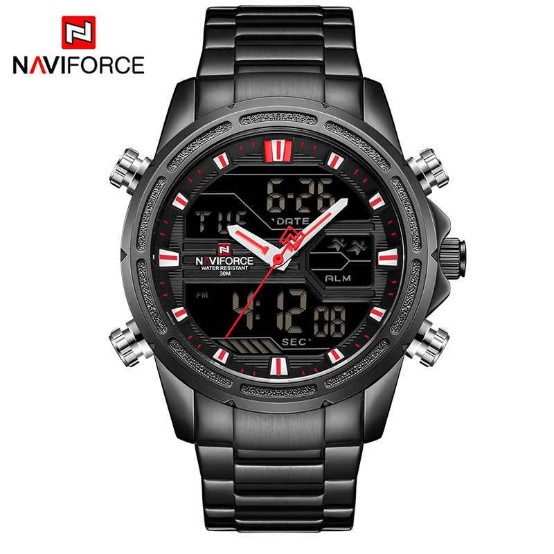 Топ люксовый бренд NAVIFORCE мужские военные спортивные часы мужские кварцевые часы из нержавеющей стали светодиодные цифровые аналоговые Мужские часы Relogio Masculino