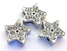 d33a052575c 100 pcs 8mm completa rhinestone Estrelas Encantos de Slides colar e pulseira  encantos