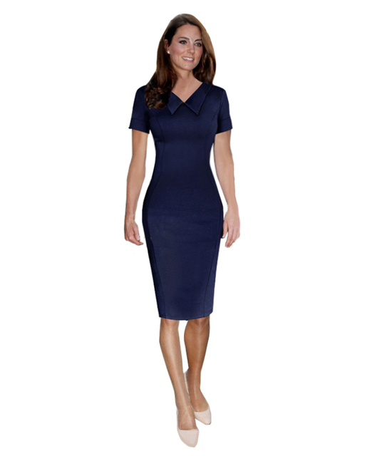 Elegant Kate Middleton Dress Solid Formal Office Turn Down Collar ...