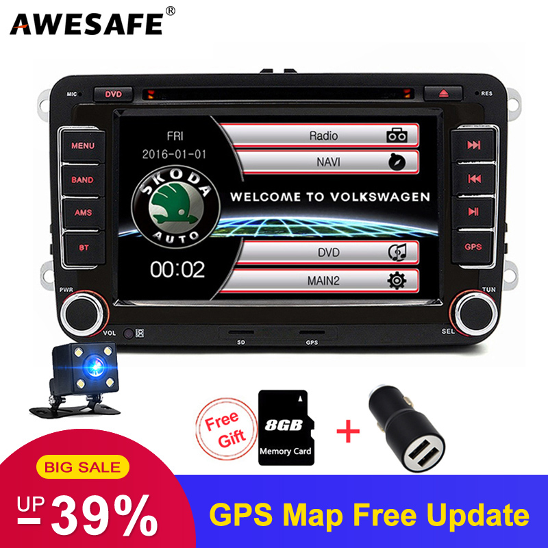 AWESAFE 2 Din Car DVD Multimedia Player for Volkswagen Golf 5 6 Polo Tiguan Passat B7