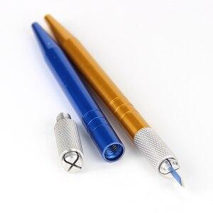 Image 3 - 50pcs Microblading Penna Tatoo Sopracciglio Permanente di Trucco A Mano Strumenti di Microblading Del Supporto In Acciaio Inox Fatto A Mano Penna Del Tatuaggio Manuale