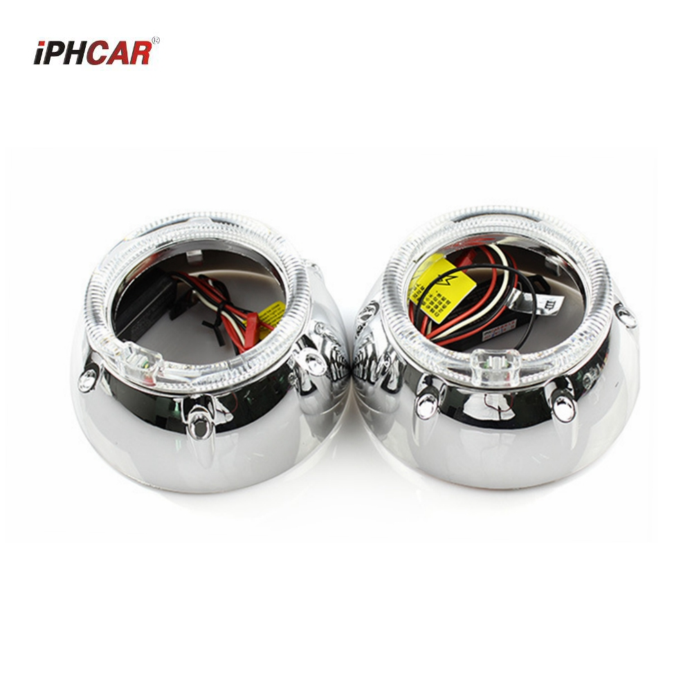 2pcs 3.0 inch for GTI led day running angel eyes drl Projector lens shrouds white color H1 H4 H7 hid xenon kit headlight 2x no errors xenon white 50w p13w c ree led bulbs drl for 2008 12 audi b8 model a4 or s4 with halogen headlight trims