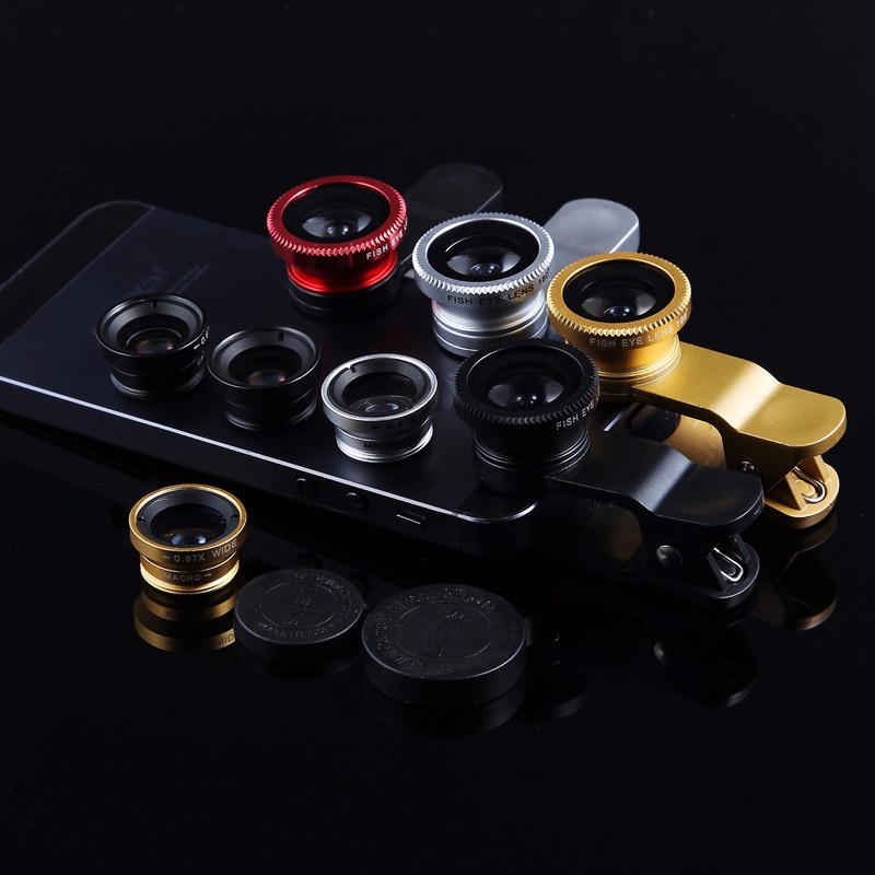 KHP 3 In 1 Universal Phone Lens Clip camera Mobile Phone Lenses For iphone 4 4S 5 5S 6 6S Samsung Galaxy S5 Fish Eye+Macro+Wide 6
