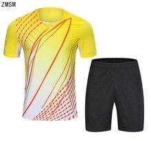 ZMSM 2018 Mens Tennis Shirts Shorts Set Badminton T-shirt Table Tennis Jersey Football Running Gym Quick Dry Sport Clothes B006