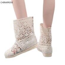 CHIRARROSE Summer Hollow Women Boots Autumn Knitted Flat Hee