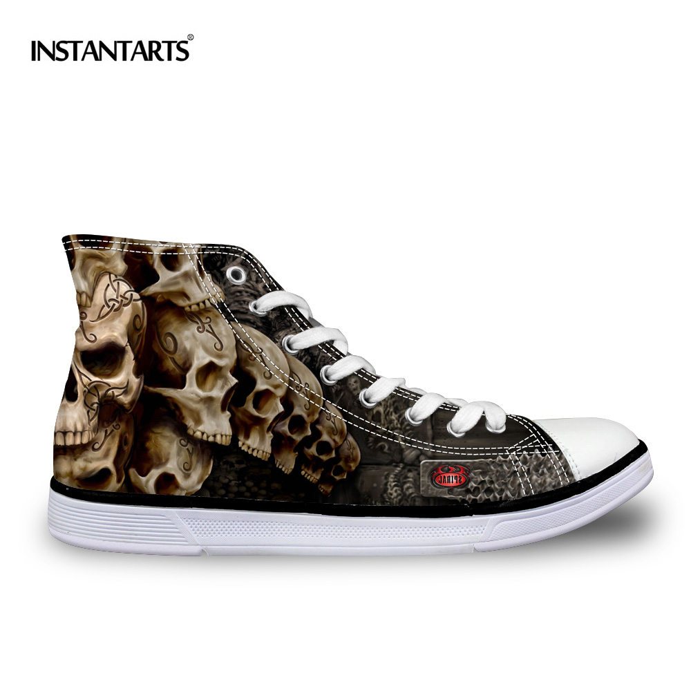 FORUDESIGNS Cool Punk Skull Printed Men's High-top Canvas Shoes - Men's Shoes - Photo 3