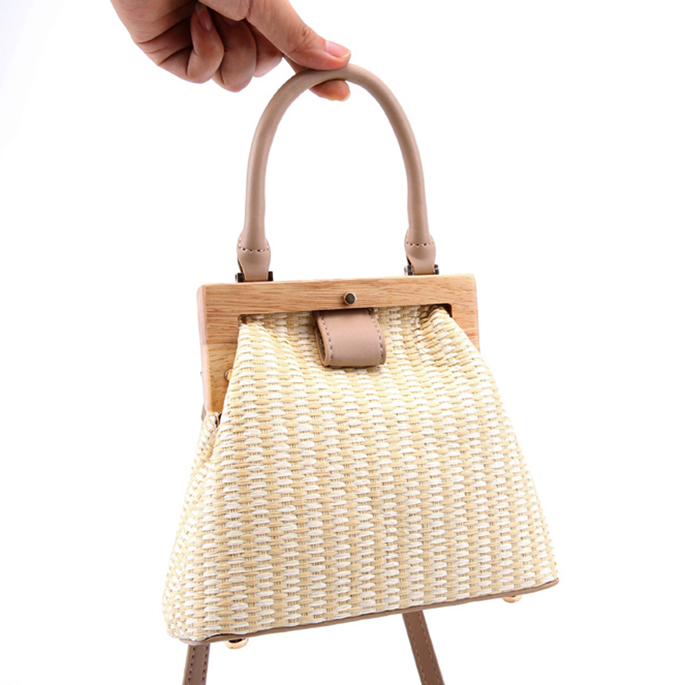Oswego Straw Bag 2019 New Fashion Wooden Clip Women Shoulder Bag Summer Travel Beach Bag Luxury Handbags Women Bags Designer 6