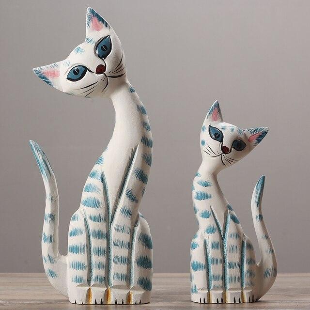 Bardzo dobra 2 sztuk dla dzieci prezent drewna zwierząt kot dekoracji dla FF05