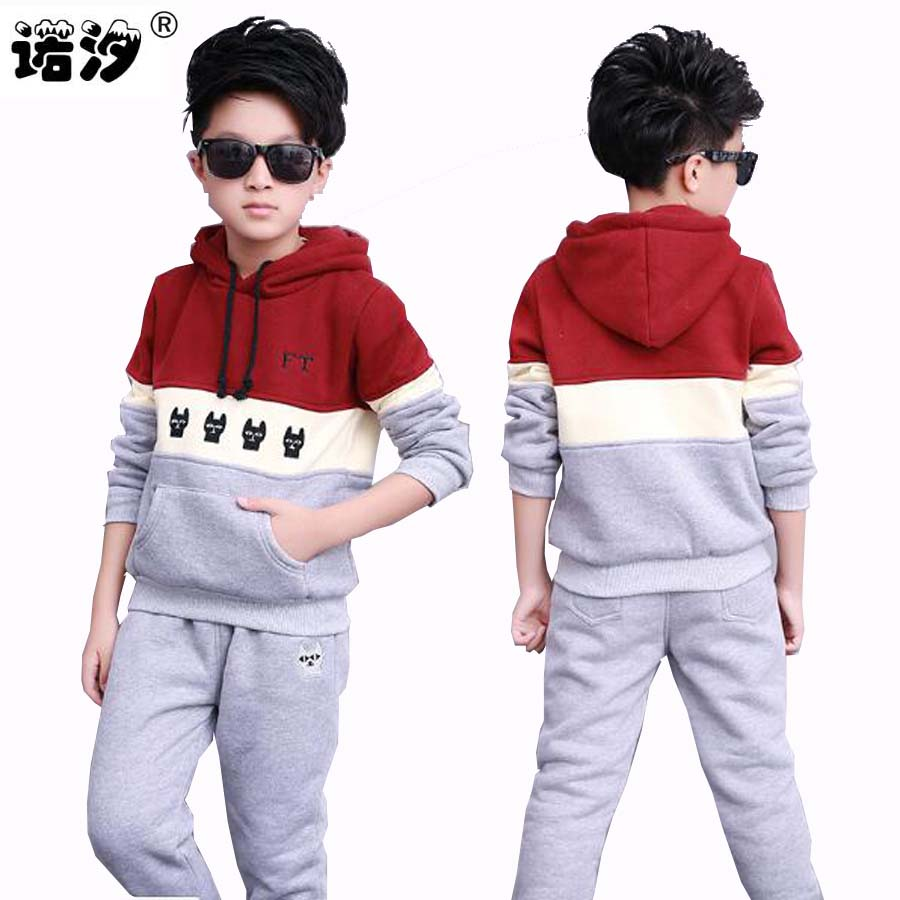Kids clothing  boys casual fleecessets big kids outwear jacket+pants 2 pcs/set spring autumn cotton sport set Jackets 7-16 Years