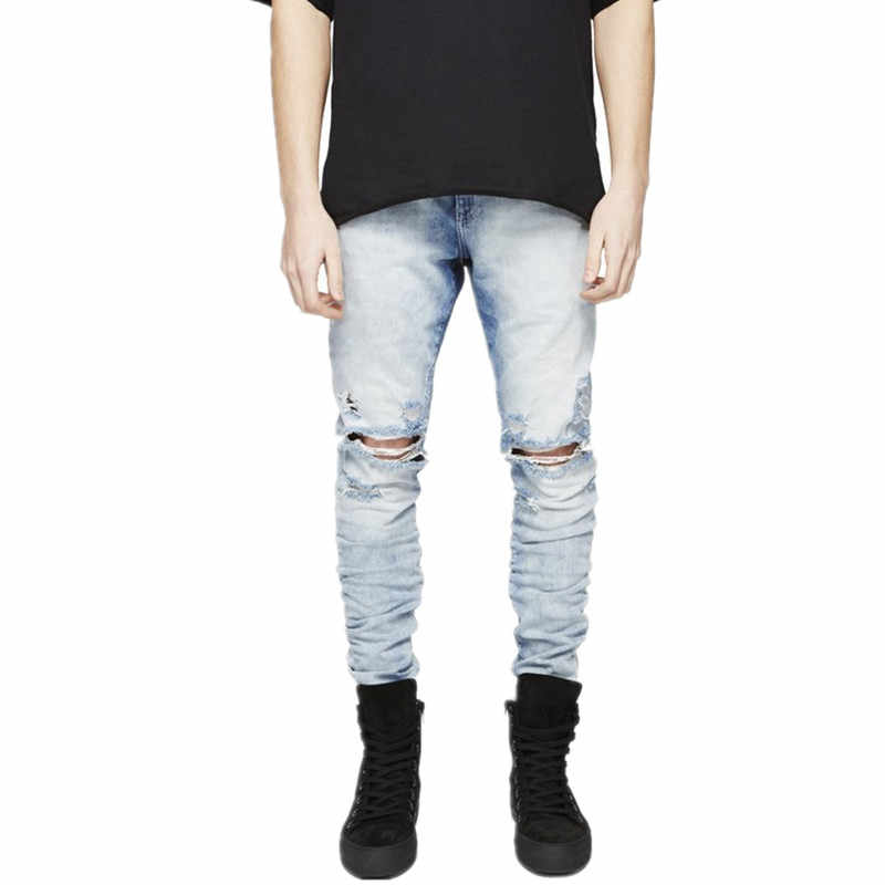 Hip hop dżinsy streetwear Slim Fit zgrywanie fajne dżinsy mężczyźni Hi-Street męskie znajdujących się w trudnej sytuacji spodnie jeansowe otwory kolana myte zniszczone dżinsy