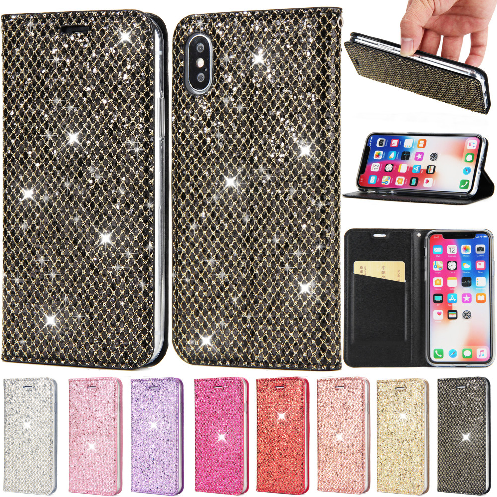 Phone Case For iPhone XS Max XR iPhone 7 8 6 6s Plus Bling Leather Wallet Flip Coque Cover For iphone X 10 iphone 8 6 6s Case XS