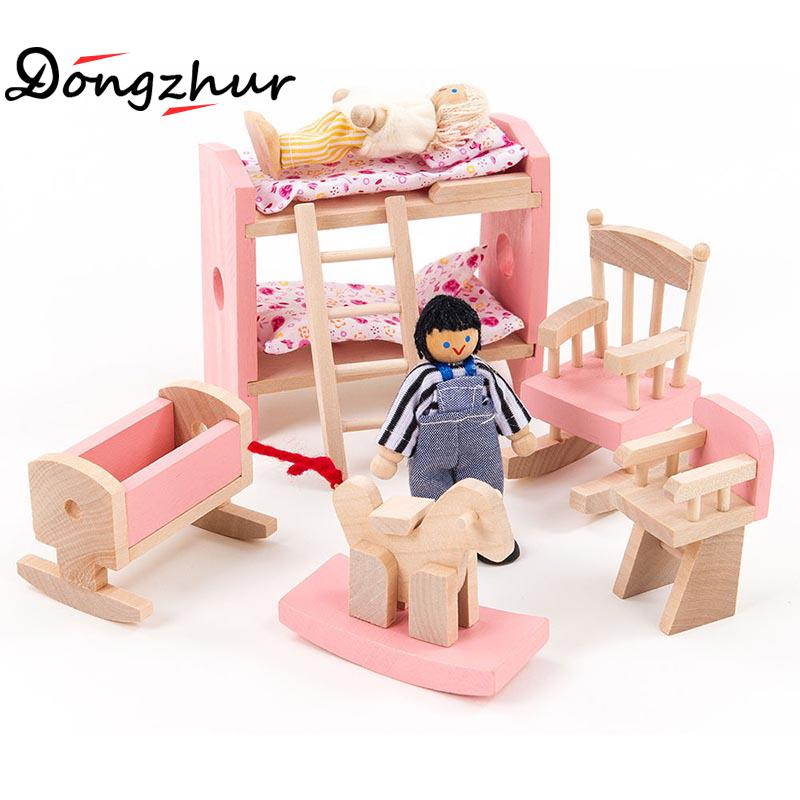 Wooden <font><b>Puzzle</b></font> Children's Toys Pink <font><b>Little</b></font> Furniture Micro High Bed <font><b>Living</b></font> Room Restaurant Bathroom Bedroom Kitchen Wooden Model