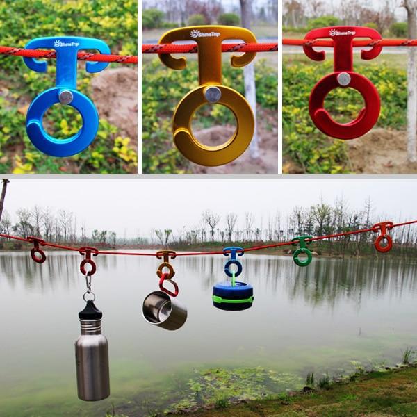 Cuerda hanger Hebillas color Al Azar Piquetas Que Acampan Yendo de Cuerdas de Vi