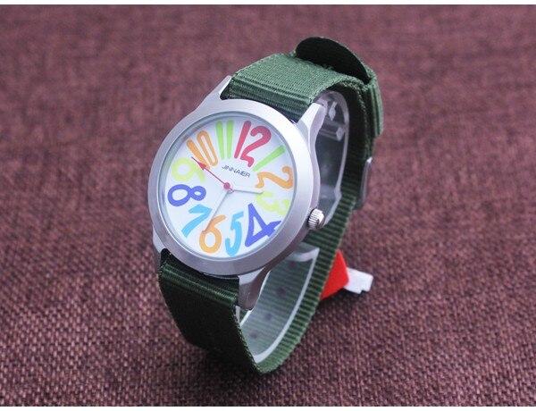 Relojes New Fashion Men Women Brand Jinnaier Quartz Watch Casual Men Colorful Dial Nylon Strap Students Wristwatches