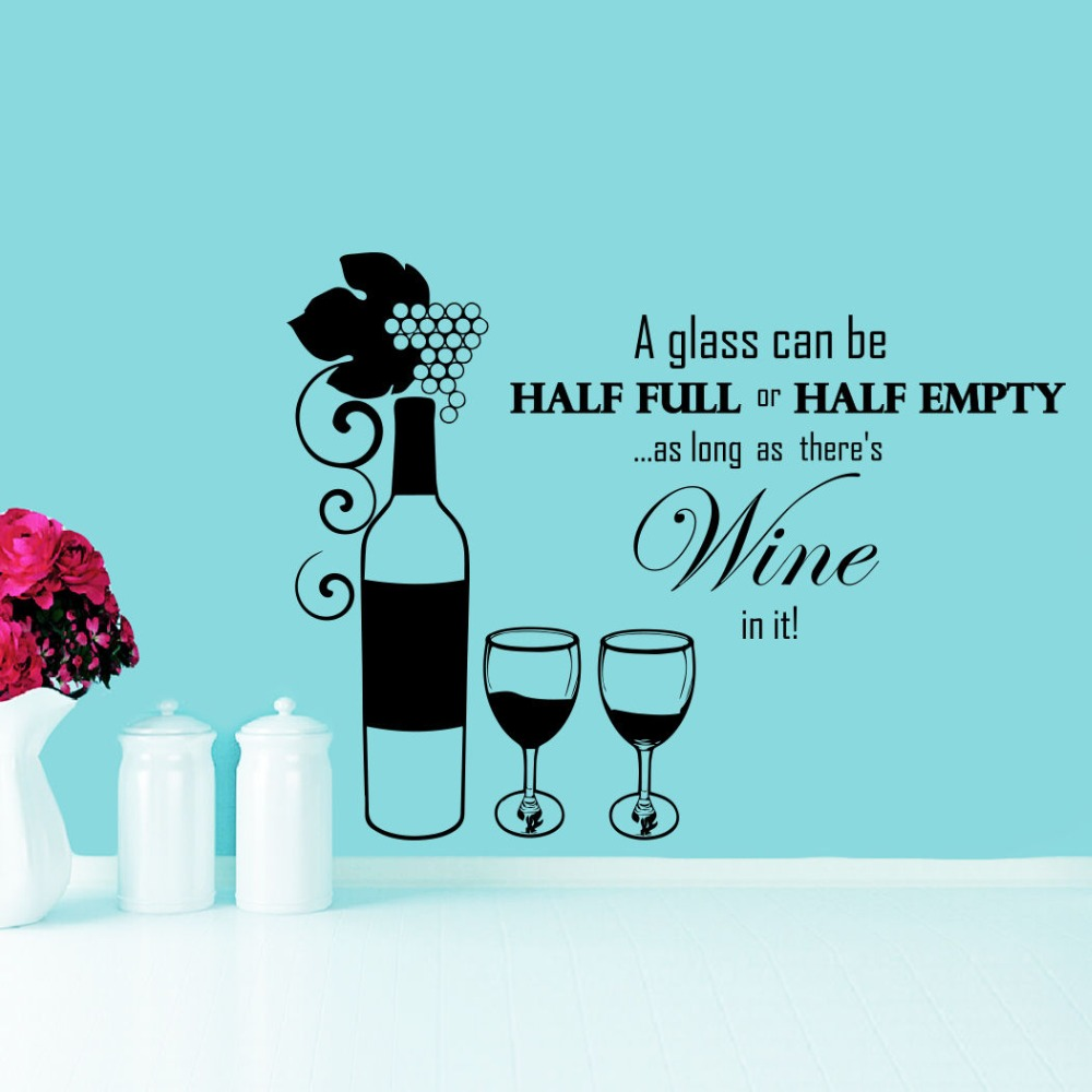 Wall Decals Bottle Glass of Wine Grapes Promo Cafe Vinyl Sticker ...