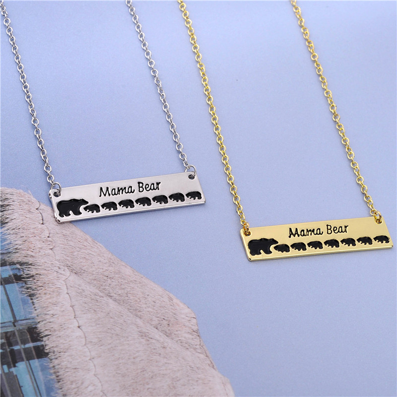 1PCS Engraved Letters Gold Silver Mama Bear 7 Cubs Baby Bears Necklace Gifts For Mothers Day Contracted Women Jewelry
