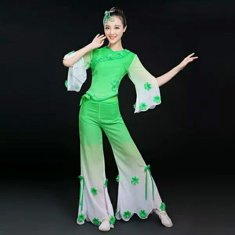 Female Yangge  New Classical Dance Performance Clothing Waist Middle-aged Fan National Umbrella