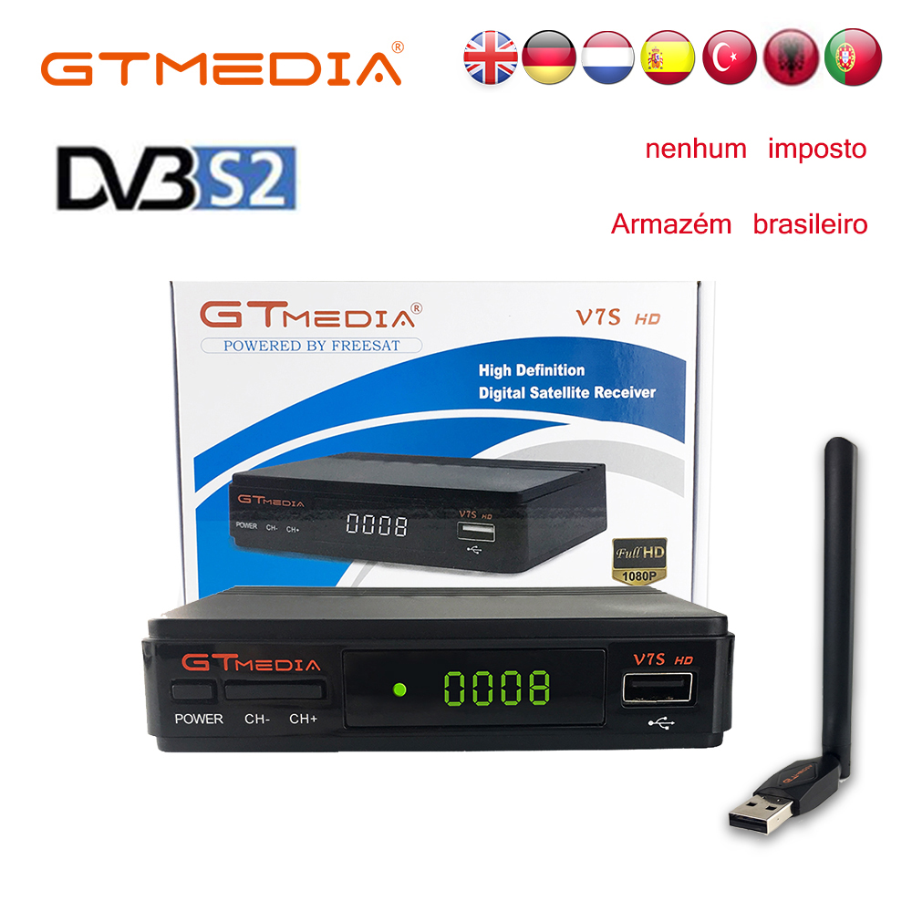 Digital Tv Box Gtmedia V7S HD Receptor Cline Player Tuner DVB-S2 1080P Satellite Receiver Vu Biss Youtube Wifi Antenna Freesat