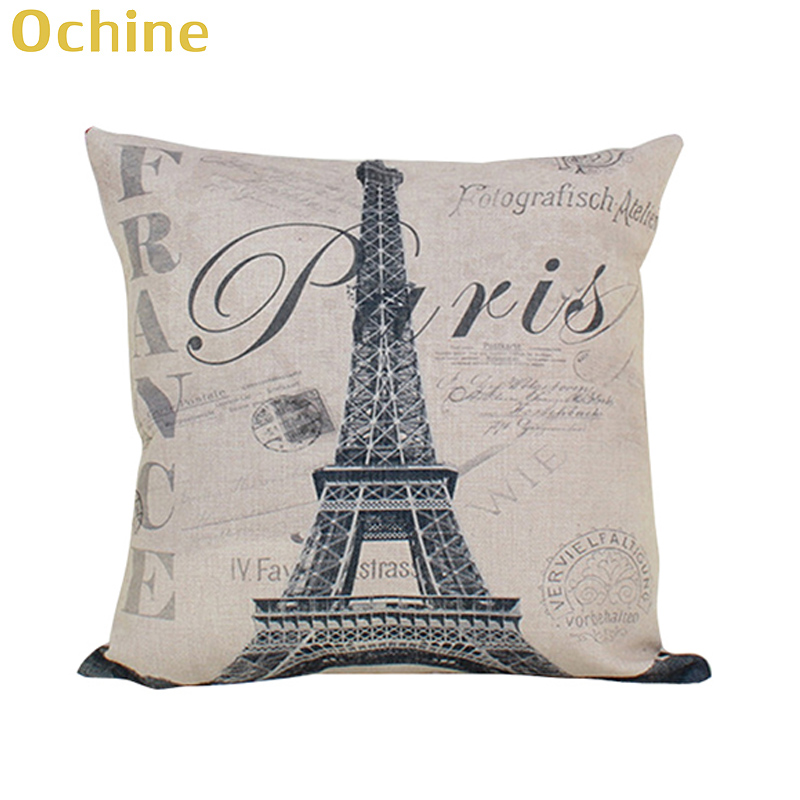 OCHINE 45*45 cm Retro Bulding Of Paris Pillows Sketch Cotton Linen Square Vintage Throw Pillow Cover Shell Cushion