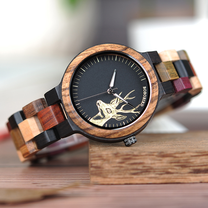 Natural Wooden Elk Dial Watch in Wood Gift Box 2