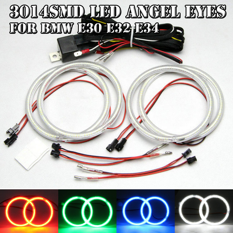 White SMD Led Angel Eyes For Bmw E30 E32 E34 Headlight DRL With 4PCs 120mm OD Halo Rings WIth  Wiring Relay Harness Car-styling 4pcs set yellow car ccfl halo rings led angel eye headlight kits for bmw e32 e34 e30 e39oem j 4164