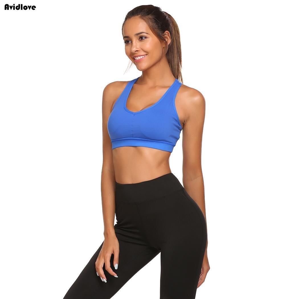 V-образным вырезом без рукавов Для женщин проложенный Activewear спортивный бюстгальтер горб Йога работает