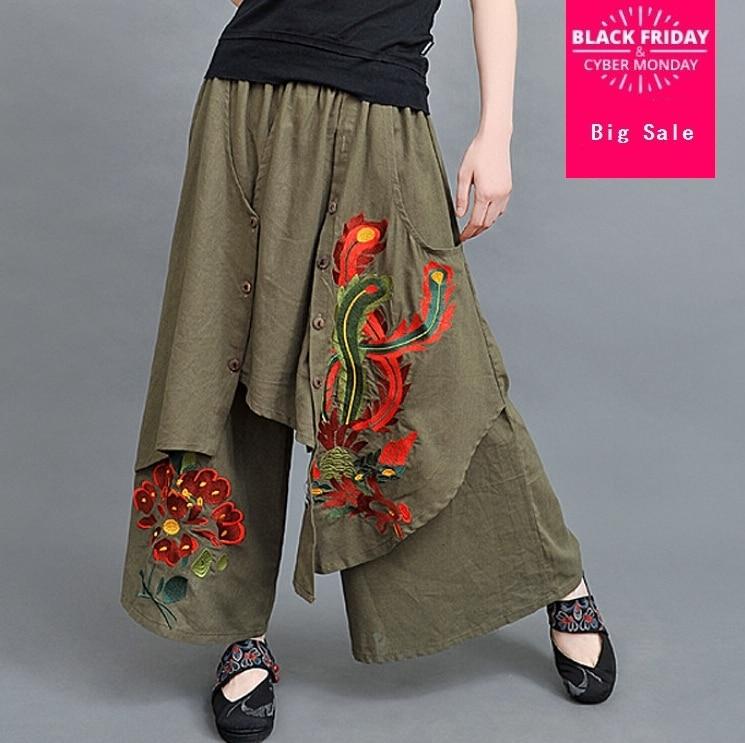 8779b46accd84 السيدات السراويل الفضفاضة النساء بنطال ذو قصة أرجل واسعة الصينية التقليدية  التطريز فستان مطرز السراويل فضفاضة السراويل 3 اللون F3699