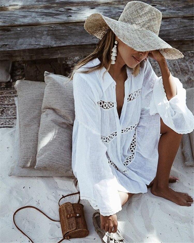 2018 blanc Plage robe de vacances robe sexy Femmes Maillot de Bain Cover Ups Kaftan Plage Tunique Robe Coton Paréo Plage Cover Up 56
