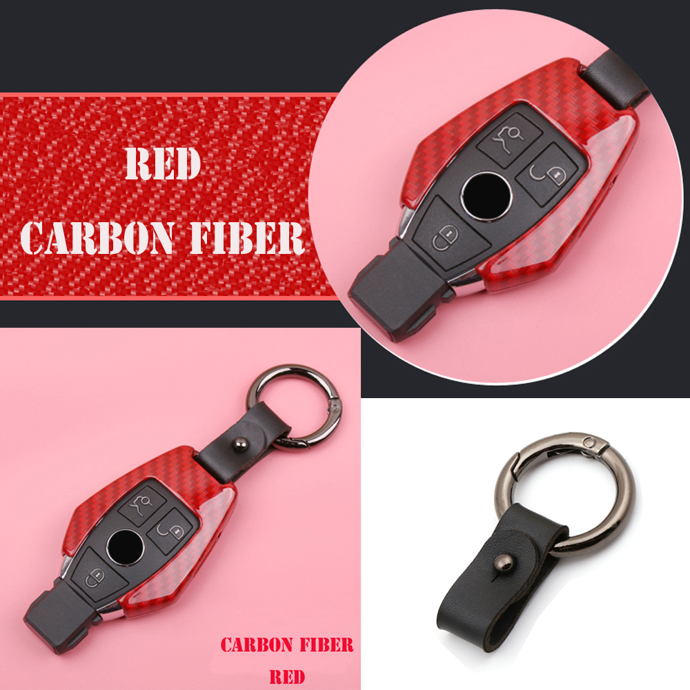 For Mercedes Benz W203 W204 W212 CLK C180 E200 AMG C E S Class Remote car smart key case cover set Meta Print carbon fiber lines