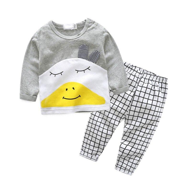 Новорожденных Для маленьких мальчиков милые костюмы мультфильм животных футболки + штаны в клетку комплект одежды для Костюмы