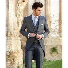 Trajes de hombre, Slim Fit Novio Esmoquin Hendidura Padrinos de Boda trajes De Boda de Baile Trajes Por Encargo (Jacket + Pants + Vest)