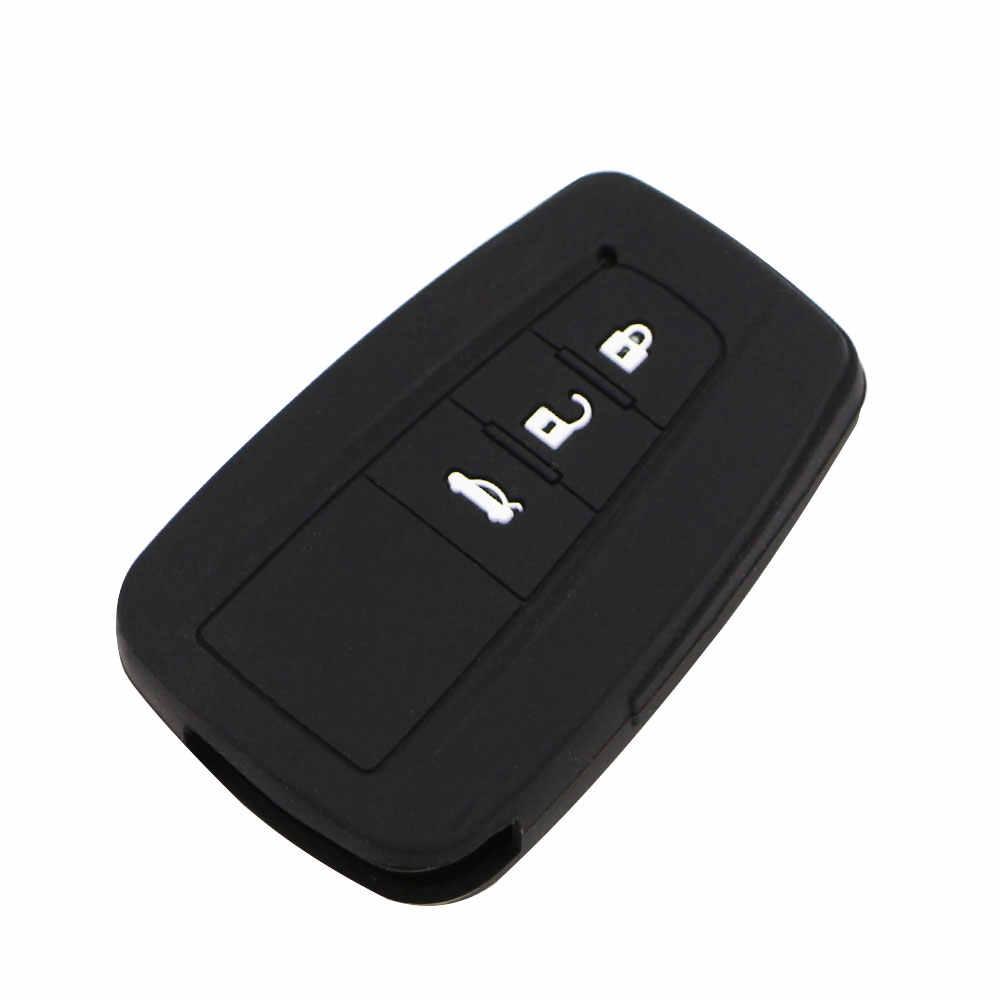 Jameo Auto Carro-Styling Chaveiro Remoto Inteligente Caso Chave de Silicone Capa suporte para Toyota Camry Prado Prius 2016-2018 3 botões