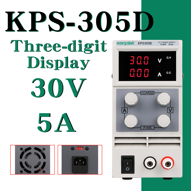 DC Power Supply KPS305D Variable 30V 5A Adjustable Switching Regulated Power Supply Digital with Alligator Leads