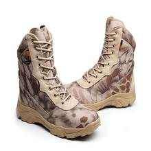 Camouflage men desert military tactical boots male Outdoor waterproof hiking shoes sneakers non-slip wear sports climbing shoes цены