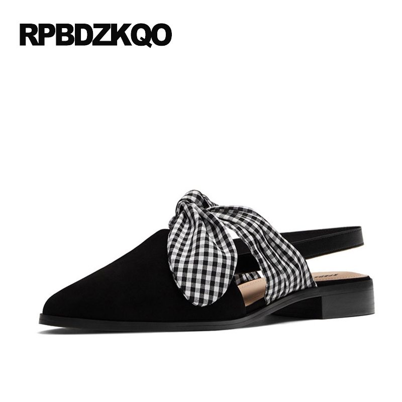 2017 Flats Women Slip On Size 9 Fashion Plaid Slingback Ladies Black Embellished Bow Shoes With Little Cute Bowtie Pointed Toe casual shoes women office ladies shoes lady cute bow tie pointed toe flats female cute spring